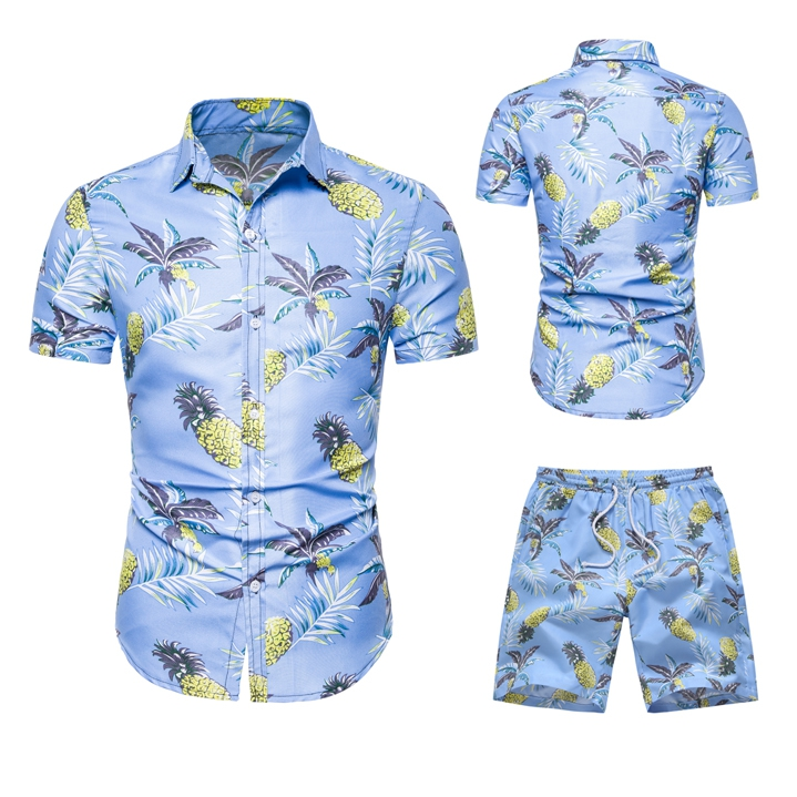 Summer Fashion Hawaii Floral Print Shirts Men+Shorts Set Men Short Sleeve Shirts Casual Men Clothing Sets Tracksuit Plus Size