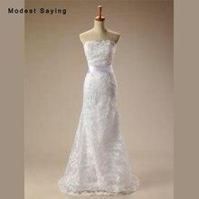 modest saying Sexy White Mermaid Lace Wedding Dresses 2017