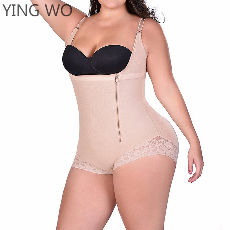 cd914530f0 Detail Feedback Questions about Side Zipper Lace Hem Big Size Tummy Control  Underbust Body Briefer Compression Garment Slimming Postpartum Bodysuit Body  ...