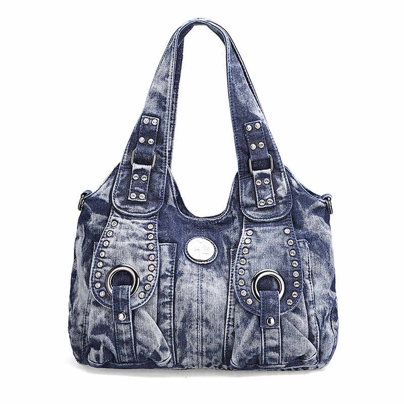 Mulheres grande denim bolsas vintage casual denim bolsa senhora grande capacidade jeans tote tecer fita criativa bolsa de ombro mensageiro