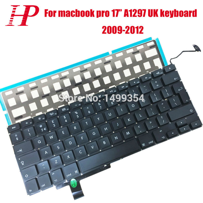5PCS Genuine A1297 UK Keyboard With Backlight For Apple Macbook Pro 17'' A1297 Keyboard UK Version Big Enter Key 2009-2012 new original kyocera 302hn94140 solenoid toner for fs 1060 1025 1125 p1025 m1025