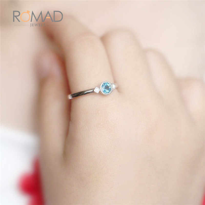 22f0991faae2 Rosa de oro plata Color Vintage piedra azul anillos de cristal sirena Cubic  Zirconia anillo para