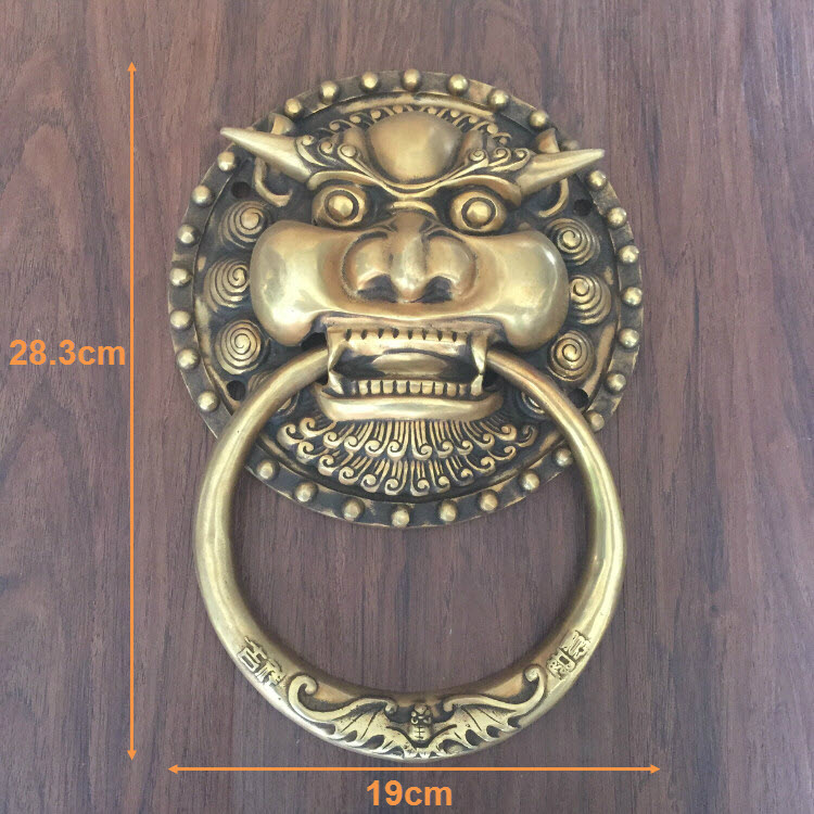 Chinese antique wood door Shoutou door ring copper lion head door handle door handle retro tiger kiran prasad bhatta executive compensation