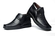 Envío gratis 2017 hombre de mediana edad y añadir zapatos de algodón lana de abrigo de invierno ocio antideslizante papá masculina botas de nieve de algodón botas
