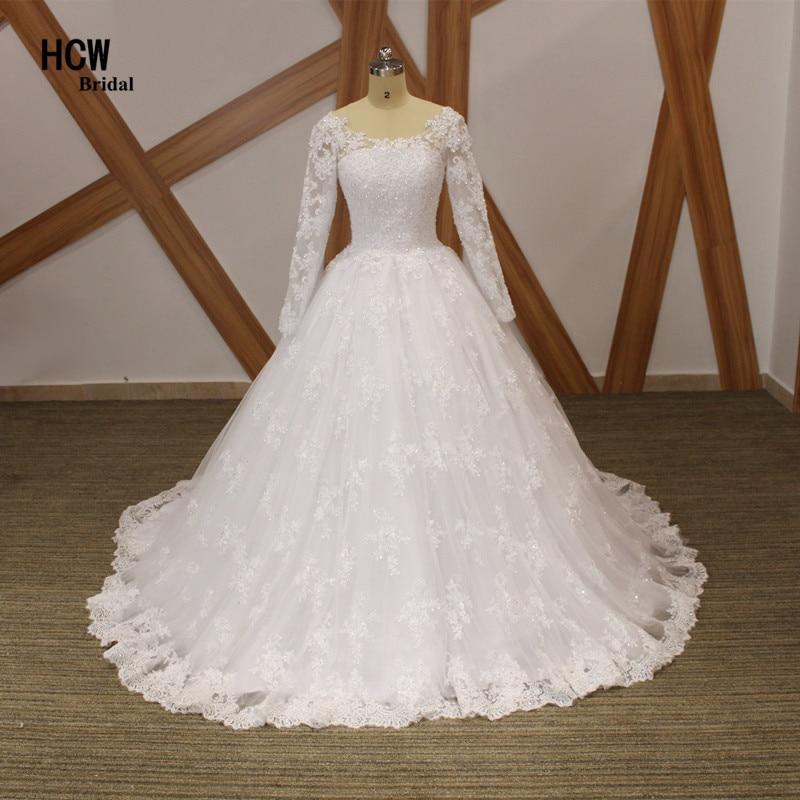 Prachtige lange mouw trouwjurk Lace-up terug Princess gezwollen bruidsjurken 2018 Hoge kwaliteit Afrikaanse trouwjurken goedkoop