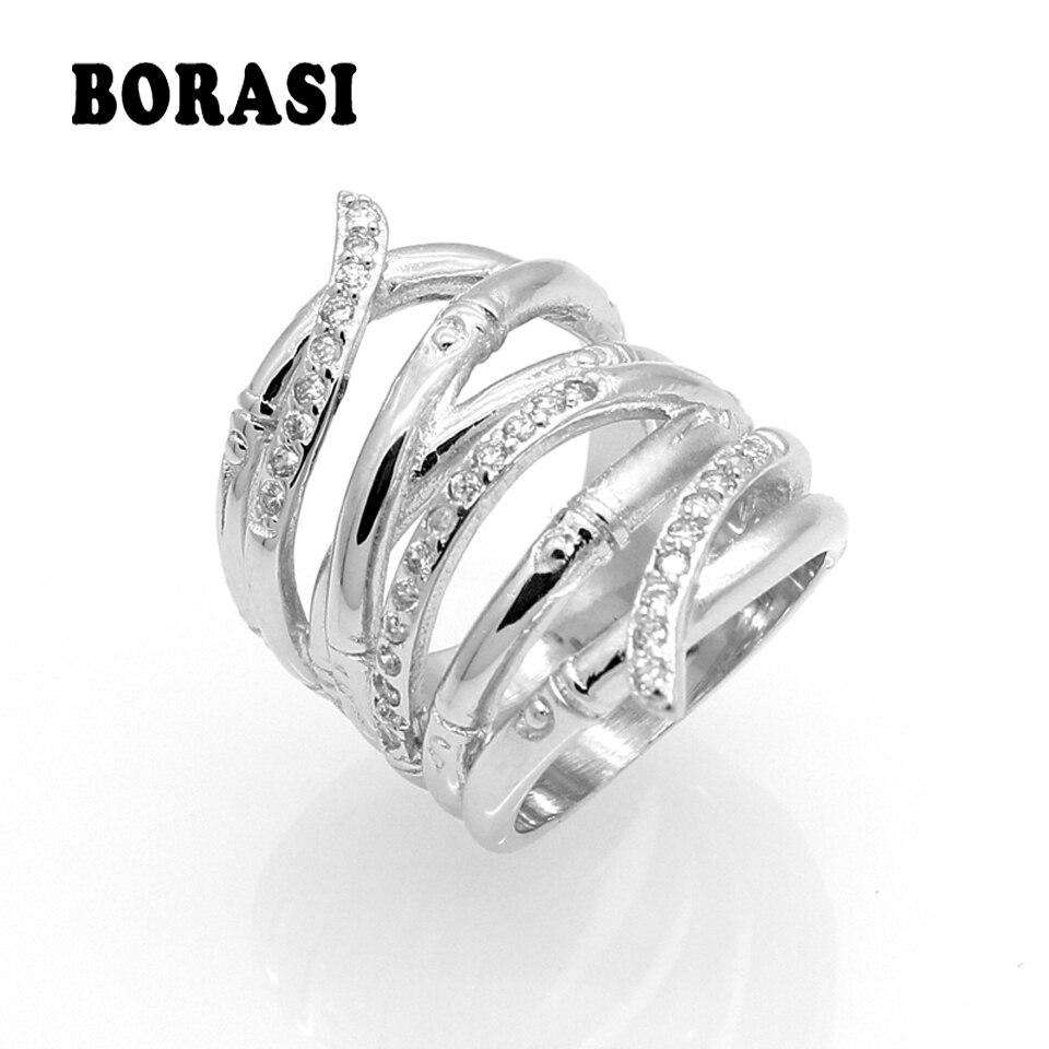 Cor de Ouro branco Jóias Anéis de Casamento Para As Mulheres de Noivado de  Cristal Cor Prata Zircão Imitação strass Anel Anillos 530ac4cc5d