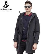 Пионерский лагерь осенно-зимняя длинная куртка брендовая мужская одежда мужской хлопка теплая высококачественная куртка черное польто для мужчин 611801