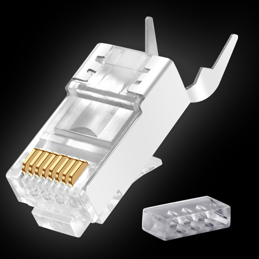 RJ45 Connector Network Cable Connector 1/10pcs Cat6a Cat7 RJ45 Plug Shielded FTP 8P8C Network Crimp Connectors