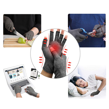 1 Pair Compression Arthritis Gloves Premium Arthritic Joint Pain Relief Hand Gloves Therapy Open Fingers Compression Gloves 1