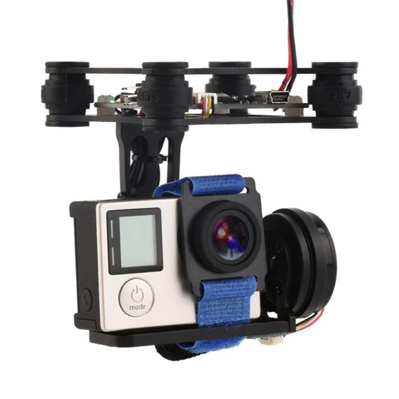 ФОТО Black FPV 2 Axle Brushless Gimbal With Controller For DJI Phantom GoPro 3 4 best brushless gimbal cheap 3 axis gimbal A190 STA