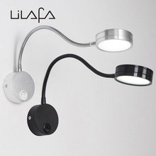 Modern LED Wall lamps flexible 5W bathroom mirror light silver Bedside Reading study sconces led luminaire lamps(China)