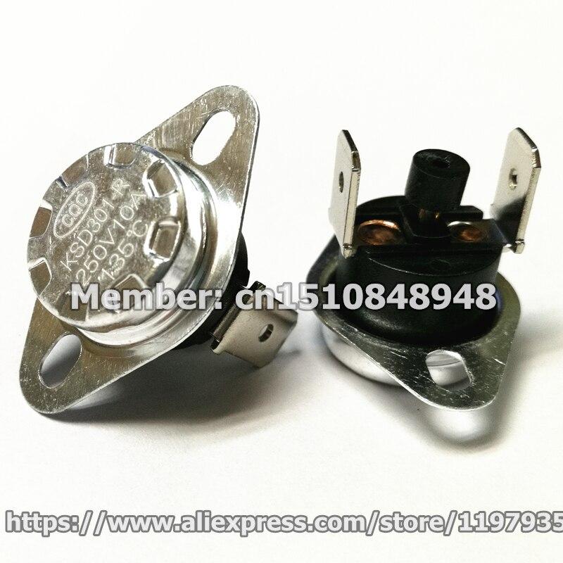 Interruptor de control t/érmico,Baugger 5pcs KSD301 Interruptor de temperatura del termostato 250V 10A NC Interruptor de control t/érmico normalmente cerrado
