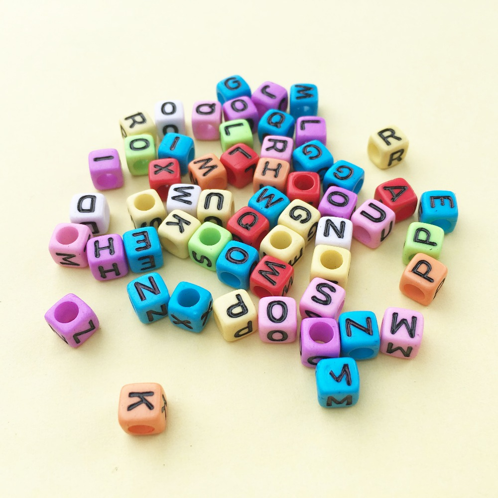 Factory Price 6*6MM Cube Acrylic Letter Beads Assorted