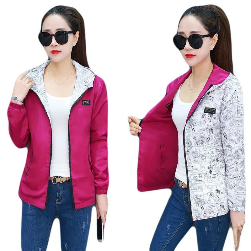 Spring Autumn Women Casual Basic Jacket Pocket Zipper Hooded Two Side Wear Cartoon Print Outwear Loose Coats Big Size