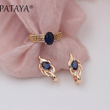 PATAYA New Arrivals Women 585 Rose Gold Short Eardrop Vintage Earrings Rings Sets Dark Blue Oval Natural Zircon Fine Jewelry Set(China)