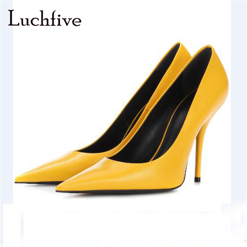 New arrival women pumps sexy thin high heels classic pointed toe shallow slip on female shoes elegant outwear blue yellow plus size new classic pointed toe thin high heel sexy women pumps 10 candy colors for office lady elegant slip on shallow shoes