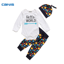 CANSI Brand Cotton Full Romper Newborn Baby Clothes Boys Girls Tops Romper Pants Leggings Hat Outfits Set Zero-18M
