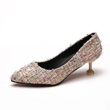 Spring  Summer 2019 New Leisure Fashion Pu Pair Colour Comfortable Non-skid Womens High-heeled Shoes With Shallow Mouth
