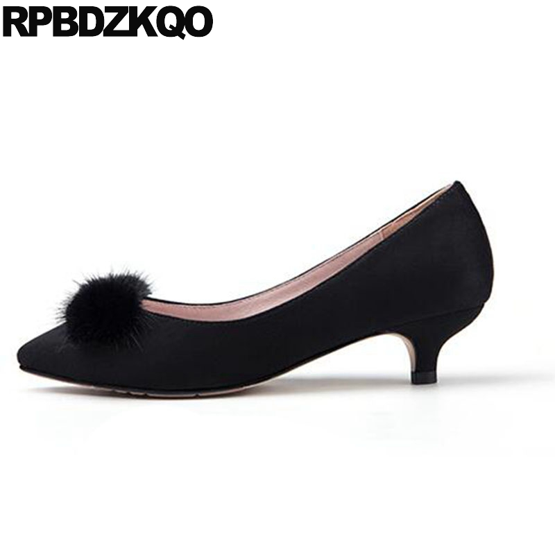 Dress Shoes Low Heels Suede Kitten Customized 11 43 Black Ladies Big Size Pointed Toe Scarpin Fur 3 Inch 33 12 44 Pumps Bow High pumps size 33 brand black 4 34 platform shoes women 3 inch 11 43 ladies 2018 10 42 chunky high heels pointed toe plus customized
