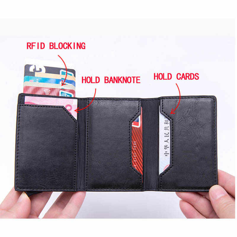 Zovyvol Nieuwe Pu Lederen Portemonnees Magnetische Sluiting Kaarthouder Rfid Blocking Card Wallet Smart Portemonnee Vintage Casual Money Bag