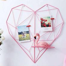 Love Heart Metal Mesh Grid Panel Decor Room DIY Photo Wall Art Display Pink