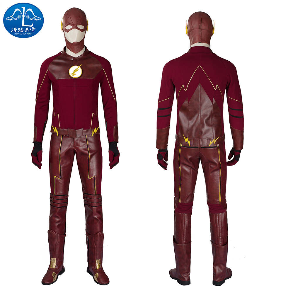 The Flash Cosplay Costume Barry Allen Suit The Flash Season 2 Barry Allen Costume Superhero Outfit With Boots Adult Men Tailor