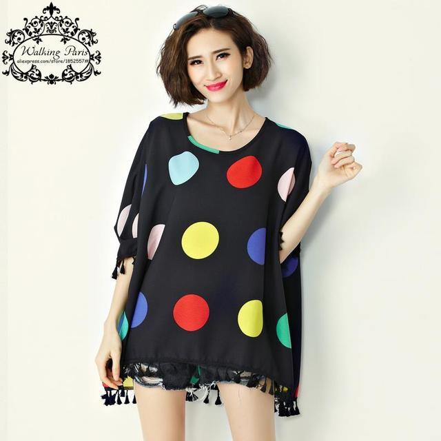 2016 Plus Size Women's T-Shirt Summer Style O-Neck Polka Dot t Shirt Casual Big Size Shirt Dress Loose Black Yellow Tops L-4XL