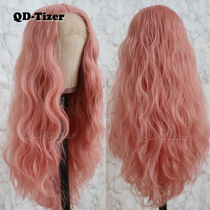 Image 3 - QD Tizer Long Pink Hair Loose Wave Hair  Lace Wigs Free Part Glueless Synthetic Lace Front Wigs for Fashion Women