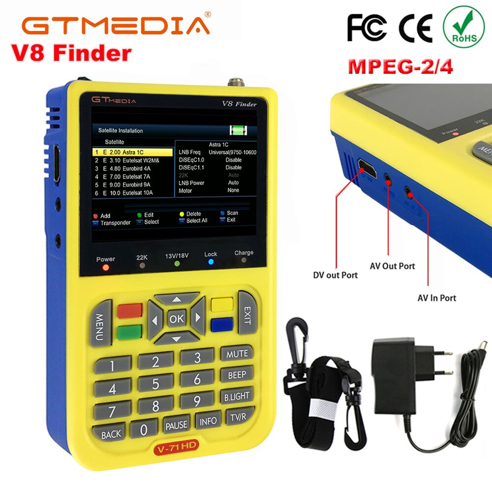 GTMEDIA/Freesat V8 Finder HD DVB S2 Digital Satellite Finder HD 1080P Sat Finder DVB S2 3.5 inch LCD Satellite Meter Satfinder-in Satellite TV Receiver from Consumer Electronics