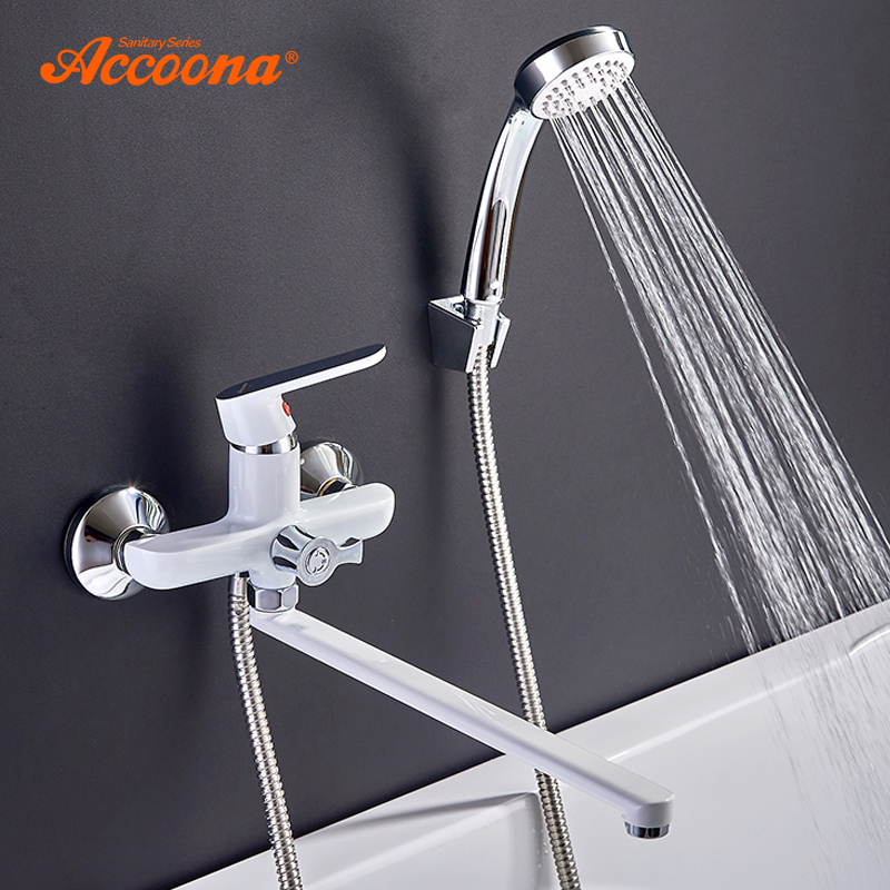 Accoona Bathroom Bathtub Faucet Shower Set Outlet Pipe Cold And Hot Bath Faucets Surface Lacquered Brass Faucets Head A7166