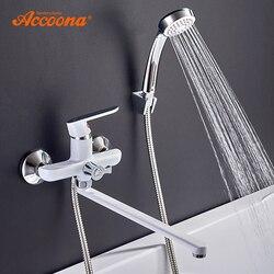 Accoona banheiro banheira torneira do chuveiro definir tubo de saída torneiras banho quente e fria superfície bronze lacado cabeça a7166