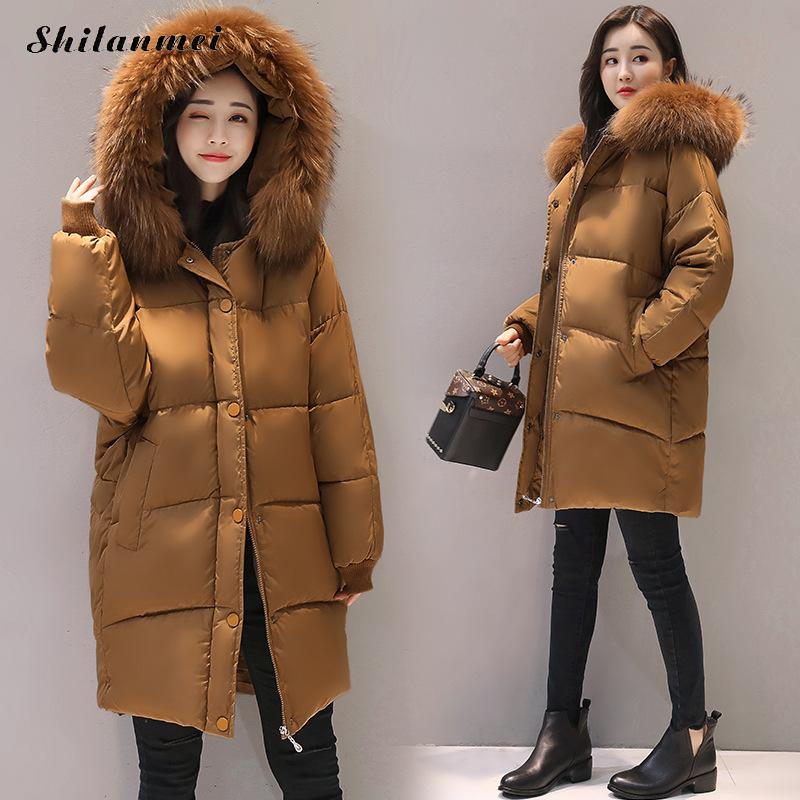 Plus Size XL 2XL Loose Parkas Women Winter Jacket And Coat Big Fur Collar Thick Cotton Padded Hooded Jacket Female 2017 new casual parkas long winter coat big fur collar hooded thick loose jacket cotton padded jackets female outwear plus sizes