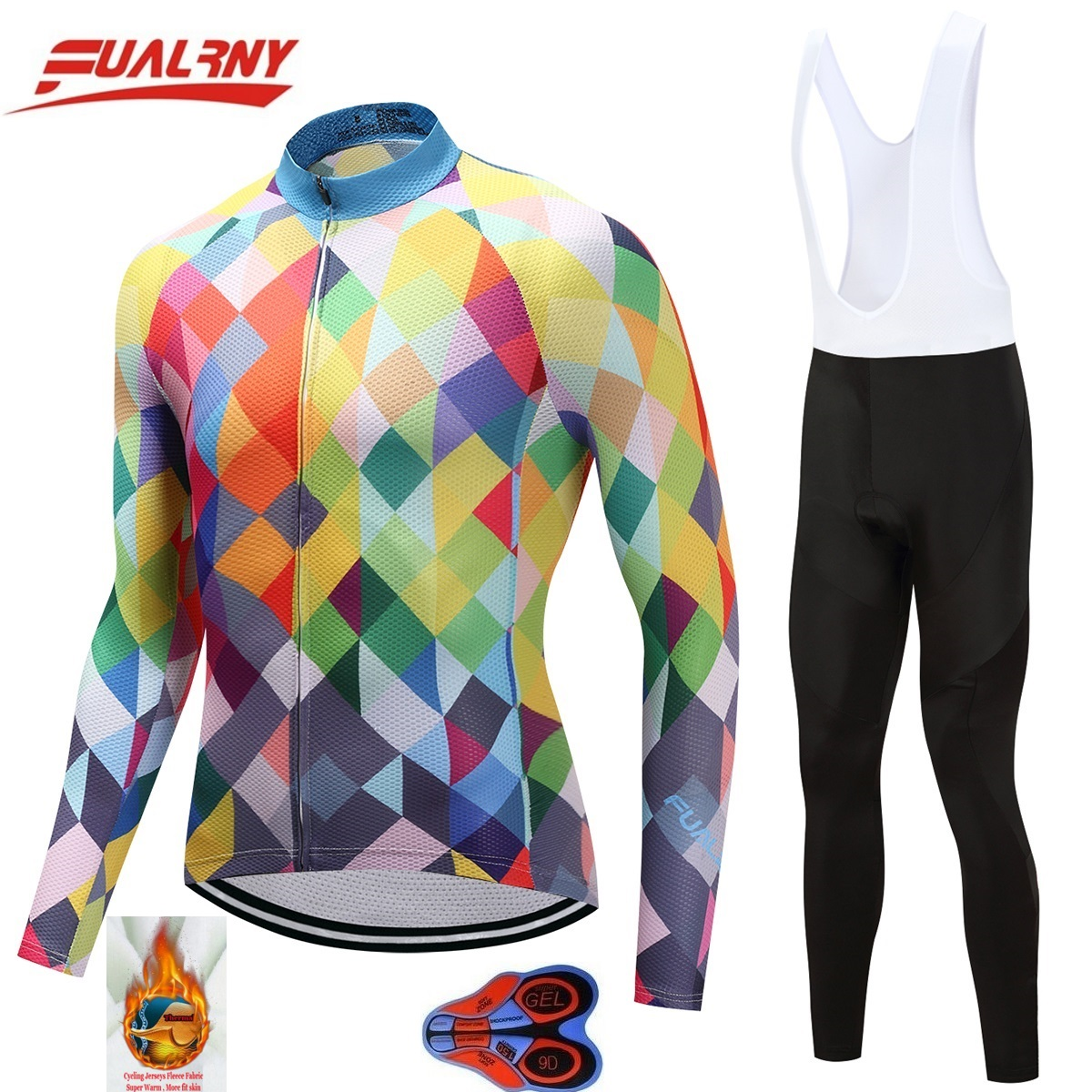 2018 Team FUALRNY Long sleeve Ropa Ciclismo Cycling Jersey sets 9D/winter Thermal Fleece Bicycle Clothing/MTB Clothes colourful2018 Team FUALRNY Long sleeve Ropa Ciclismo Cycling Jersey sets 9D/winter Thermal Fleece Bicycle Clothing/MTB Clothes colourful