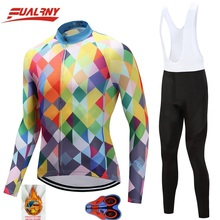 2019 Team FUALRNY Long sleeve Ropa Ciclismo Cycling Jersey sets 9D/winter Thermal Fleece Bicycle Clothing/MTB Clothes colourful
