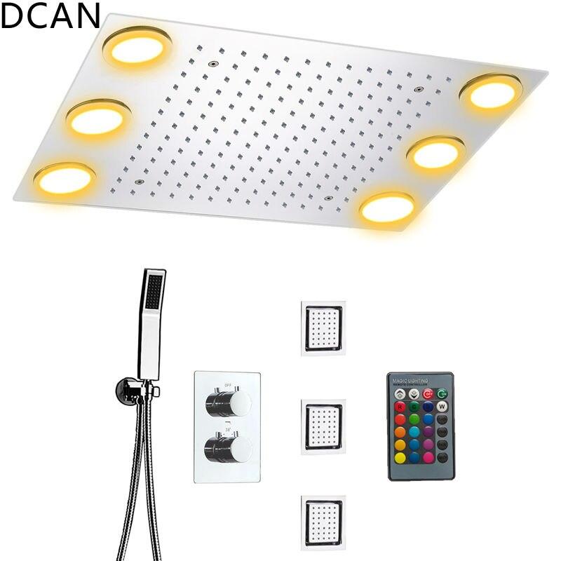 DCAN Rain Shower Set Remote Control Color LED Lights Shower Sets 3 Way Temperature Thermostatic Mixer Bathroom 360*500mm thermostatic control bathroom