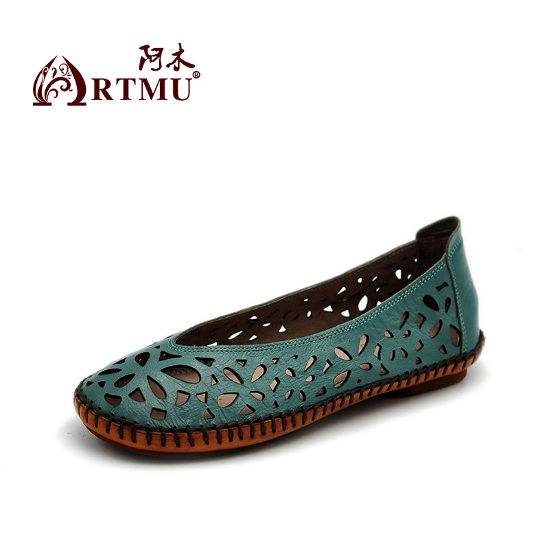 Artmu Original New Hollow Carved Genuine Leather Women Sandals Flat Comfortable All-match Handmade Soft Shoes 9707
