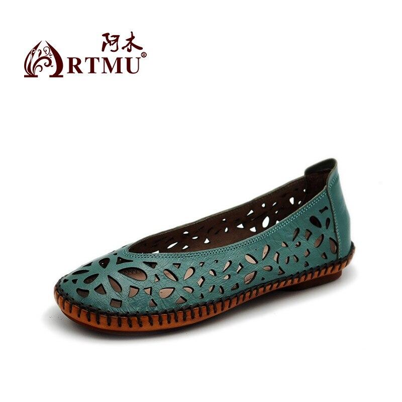 Artmu الأصلي جديد الجوف منحوتة جلد طبيعي النساء الصنادل شقة مريحة كل مباراة اليدوية أحذية ناعمة 9707-في أحذية نسائية مسطحة من أحذية على  مجموعة 2