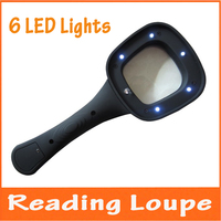 3X LED Illuminated Reading Glasses Handheld 6 Bright LED Lights Magnifier For Reading Magazines Newspaper Pocket