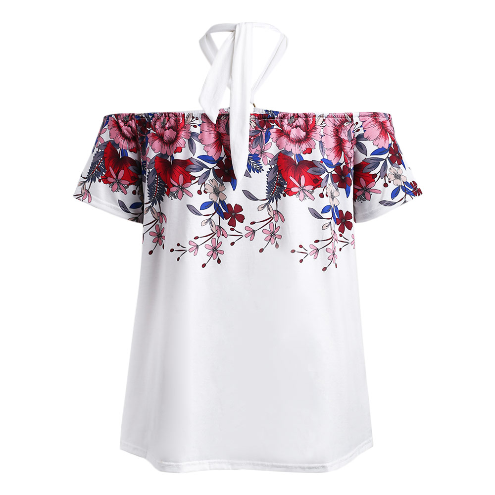 9eb7fec847d8f AZULINA On Sale Halter Neck Short Sleeve Floral Print Plus Size ...