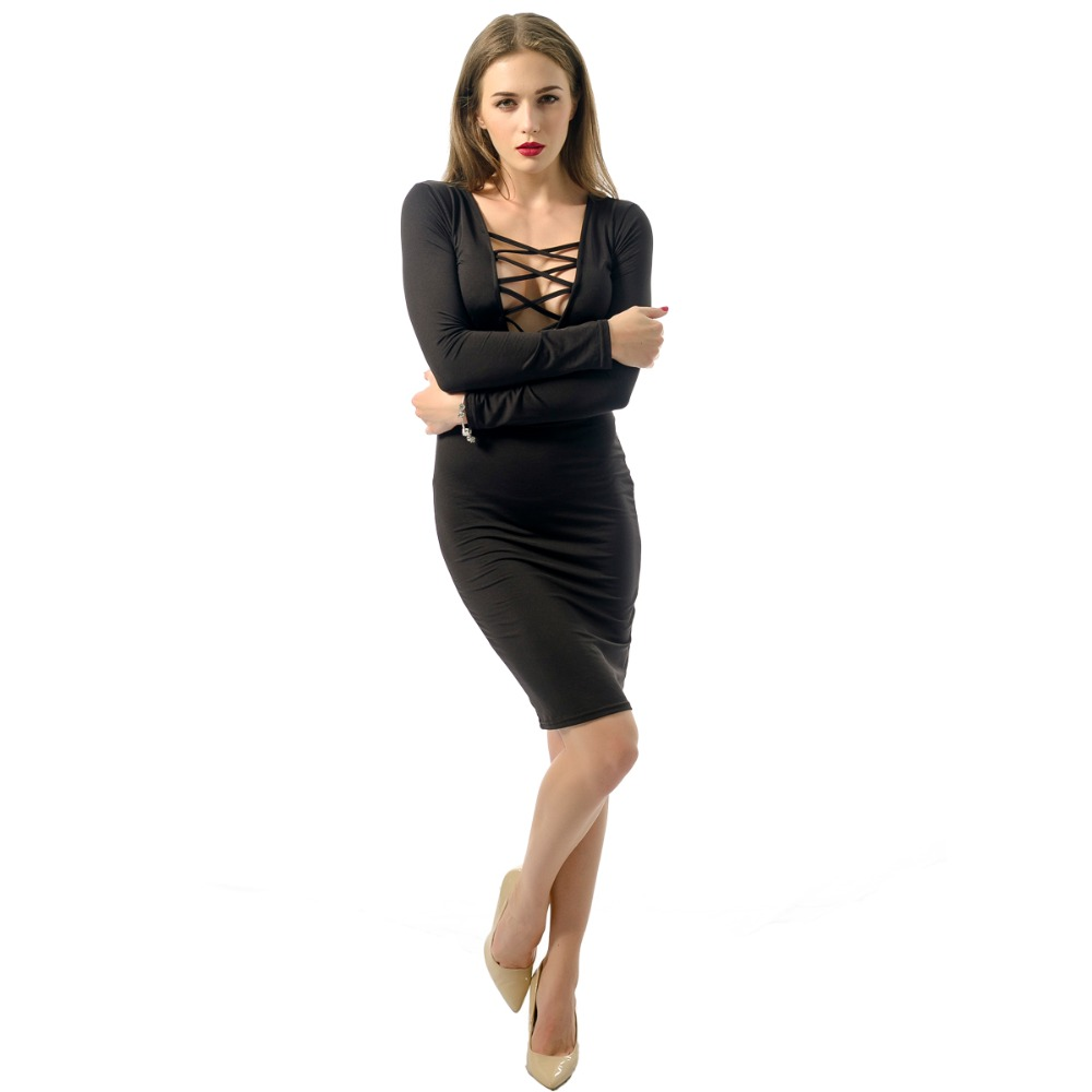 Black,Red Women Dress Plunge V Neckline Cross Straps Front Long Sleeve Bodycon Bandage Dress One-Piece Club Dress S-XXL image