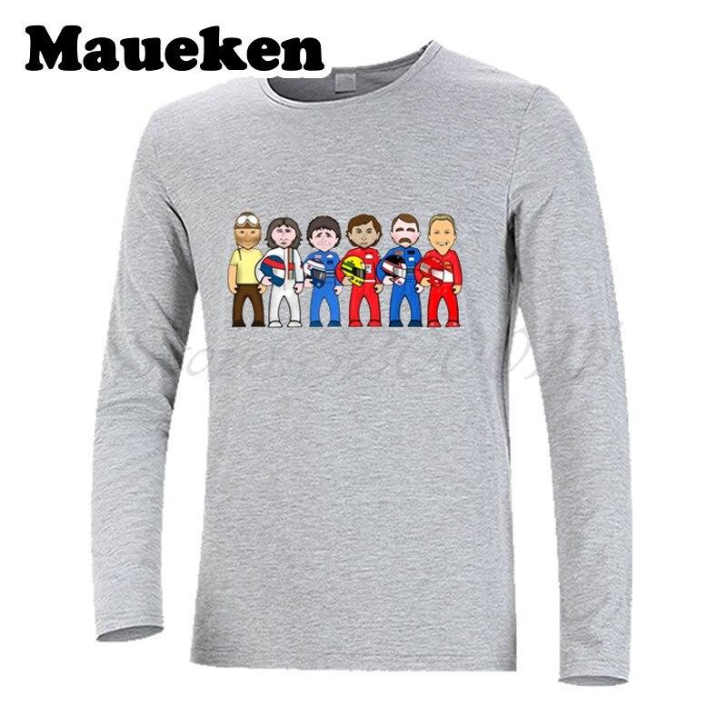 Men's Long Sleeve 1 Juan Manuel Fangio Michael Schumacher Ayrton Senna Alain Prost Mansell T-Shirt W17080601