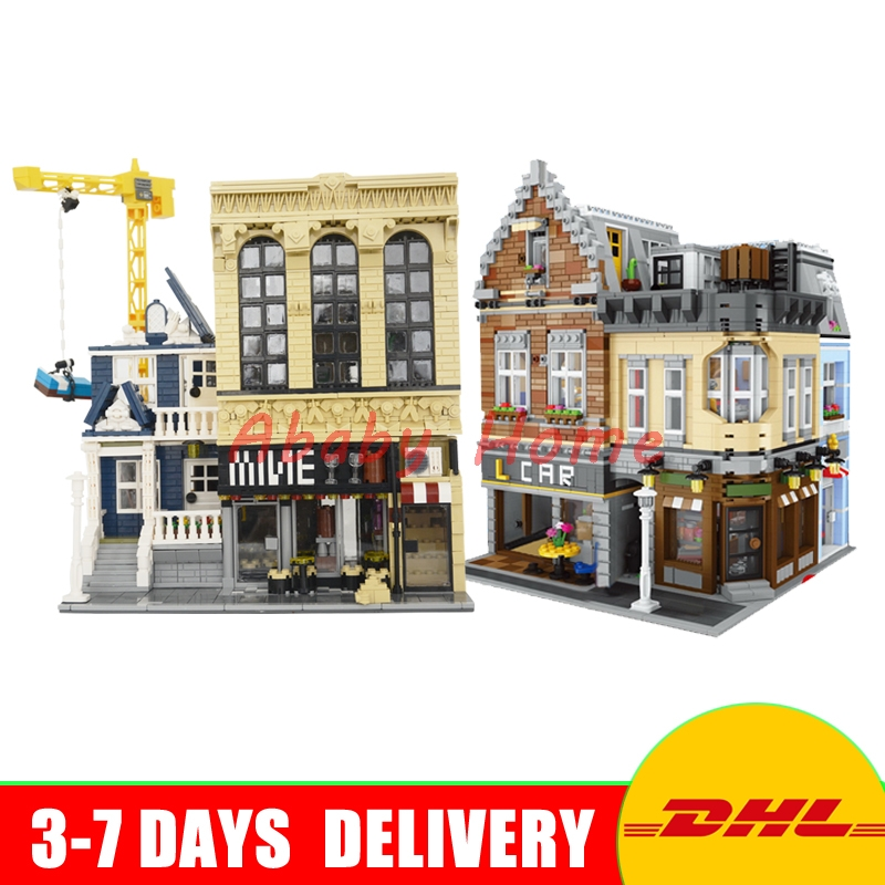 DHL LEPIN 15034 The New Building City+ 15035 The Bars and Financial MOC Set Model Building Block Bricks DIY Toys Gifts loz mini diamond block world famous architecture financial center swfc shangha china city nanoblock model brick educational toys