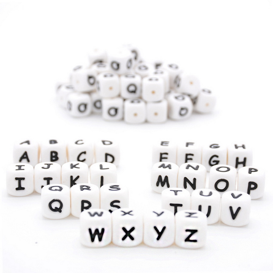 DHL 1000pcs Letter Silicone Beads Baby Teether Beads Chewing Alphabet Bead For Personalized Name DIY Teething
