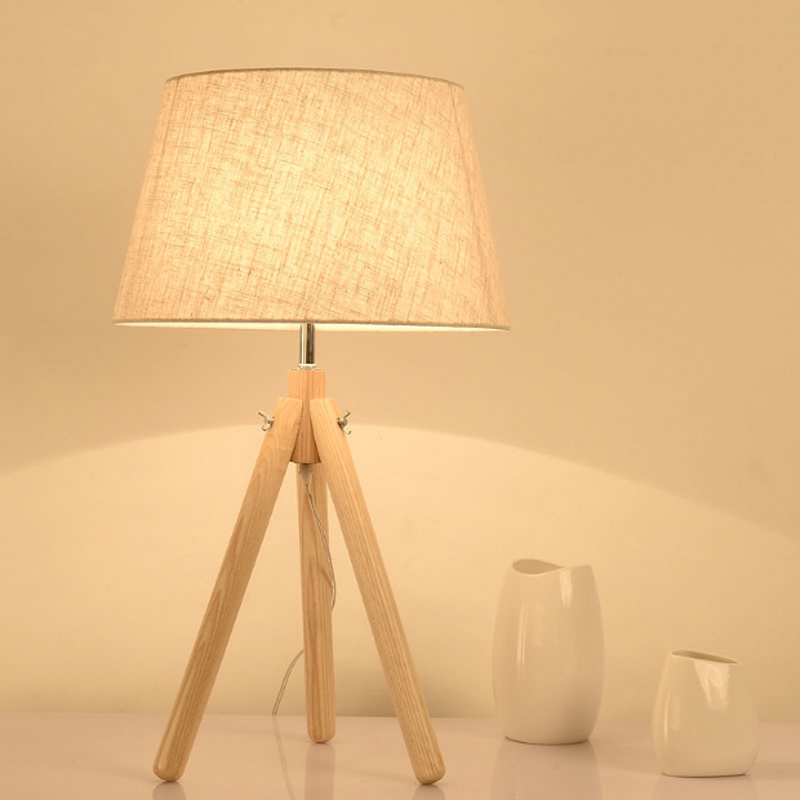 Creative Nordic Personalized bedroom bedside table lamp vinage linen lampshade E27 bulb tripod wood decorative reading desk lamp xl7215 personalized decorative color feather creative wallpaper