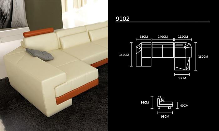 2013 New Modern Design U Shaped Corner Genuine Leather white Sofas ...