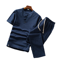 Summer Cotton Linen Men Two piece Set Fashion Casual men tshirt with Drawstring Pants Asia size S 5XL