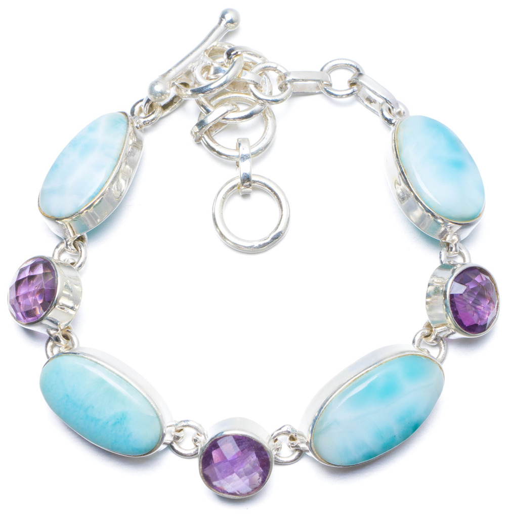 Natural Caribbean Larimar and Amethyst Handmade Unique 925 Sterling Silver Bracelet 6 1/4-7 1/2 Y0136