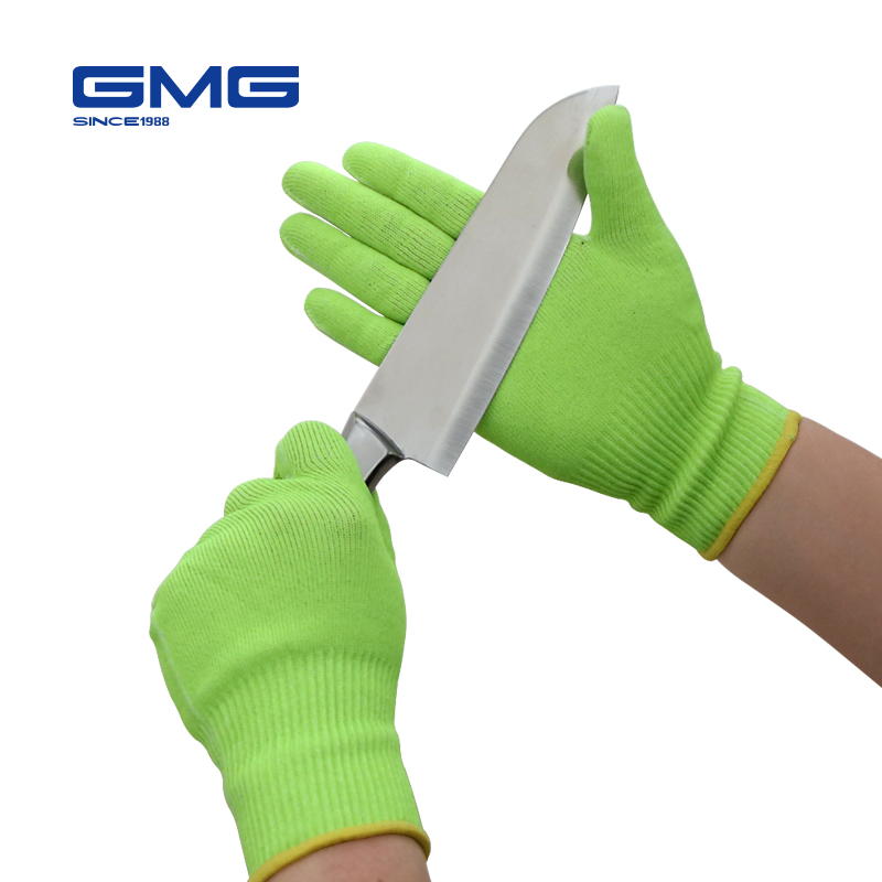 Anti prueba de corte guantes pantalla táctil Venta caliente GMG amarillo HPPE EN388 ANSI Anti-corte de nivel 5 Seguridad guantes de trabajo resistente al corte guantes