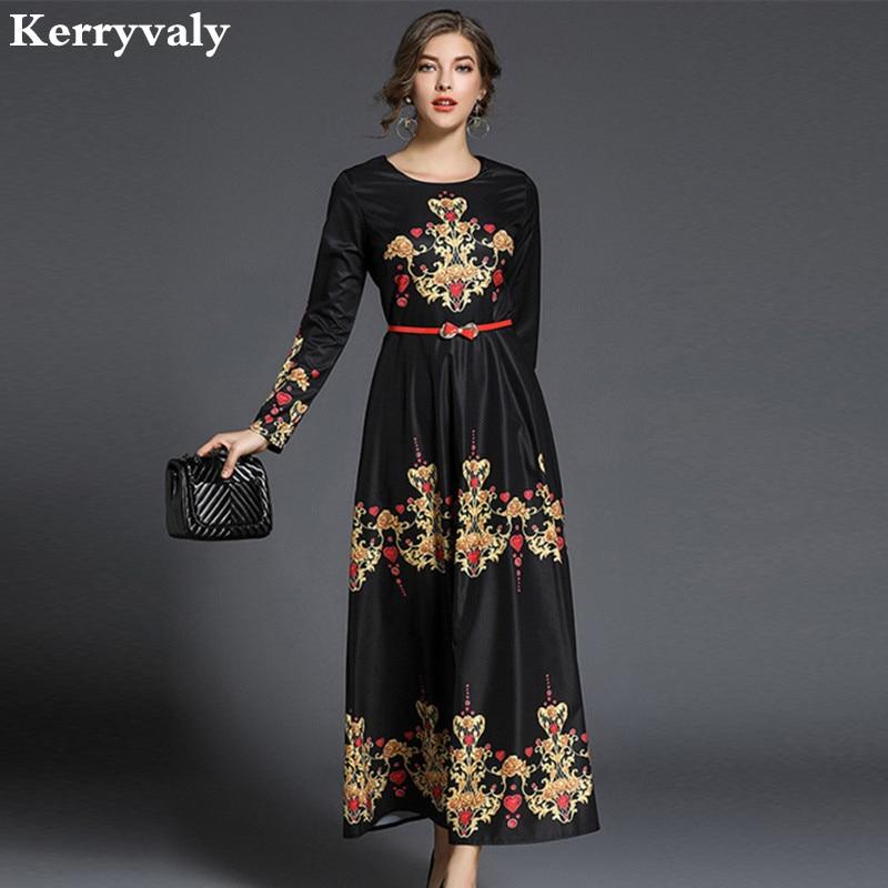 Ladies Vintage Print Maxi Dress Women Clothes 2018 Spring Long Sleeve Big Swing Long Party Dress Vestido Longo Robe Longue K6966