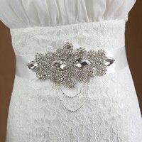 Cristallo Wedding Cintura Strass Nastro di Raso Che Borda il Partito Sposa Damigella D'onore Dress Belt Sash Handmade 1 Pezzo Spedizione Gratuita